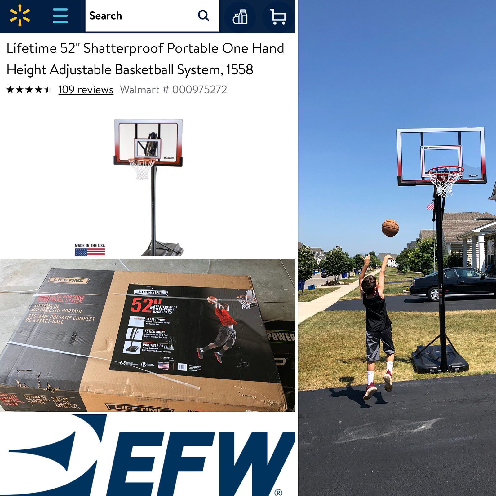 basketball hoop from Amazon delivered by Estes EFW